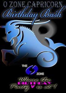 Poster for O Zone Capricorn Birthday Bash with stylized goat in blue on black background