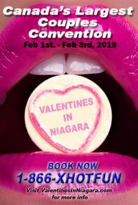 Poster with pink lips holding a candy heart that says Valentines in Niagara and booking details