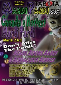 Poster with a lady in a mask and details for Mardi Pardi event