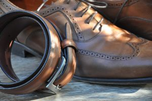 Brown leather mens shoes and a matching belt